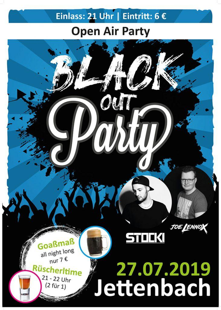 Flyer für die Blackout Party in Jettenbach am 27.07.2019